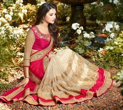 Off White & Red Color Half Net & Half Wrinkle Chiffon Designer Party Wear Sarees : Namanshi Collection  YF-42745
