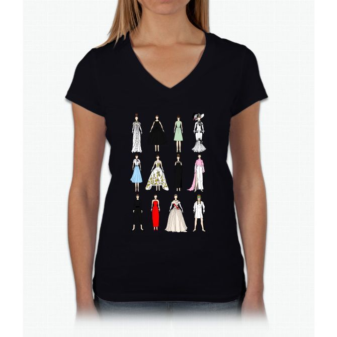 Outfits Of Audrey Hepburn Fashion Unicorn Womens V-Neck T-Shirt