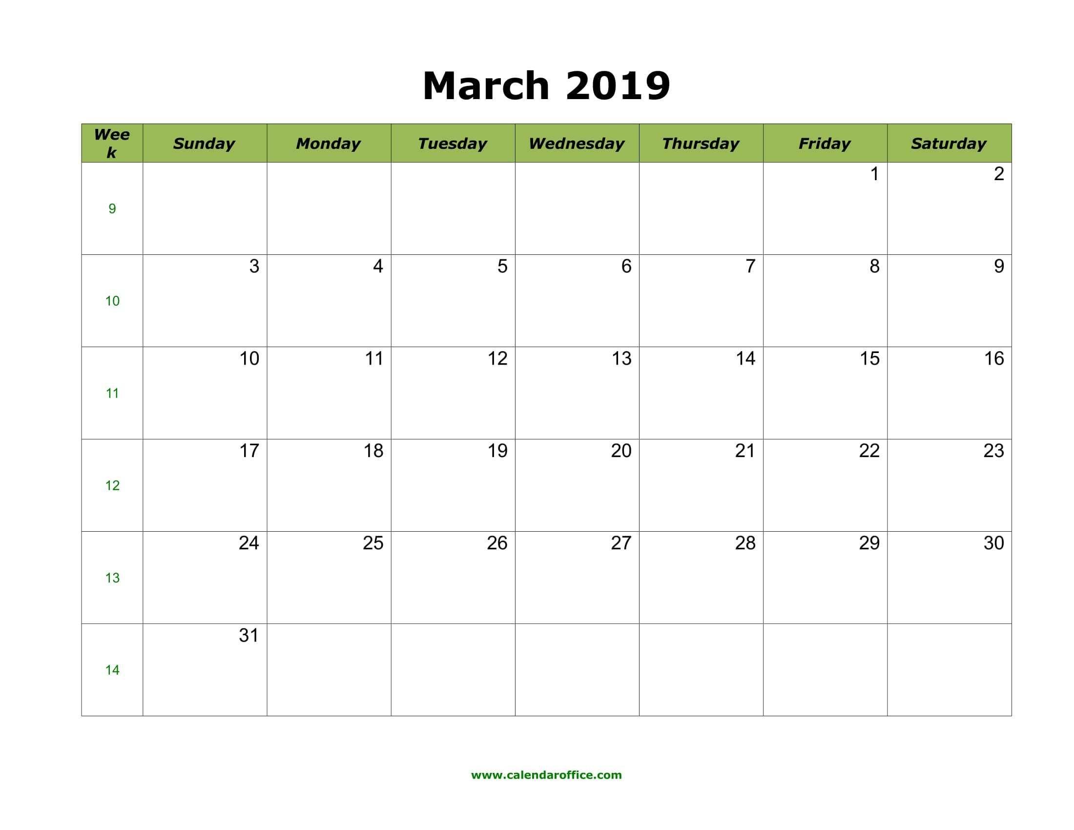 March 2019 Calendar Template March April May 2019calendar 2019