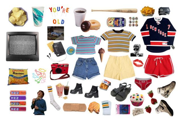 """You're Old"" by barbiedollgrunge ❤ liked on Polyvore featuring Westinghouse, Modern Vintage, Chicnova Fashion, Retrò, American Apparel, Peek, 90s, food, 80s and retro"