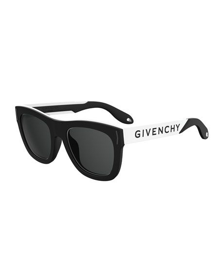 6a7368d961dc GIVENCHY Square Rubber Logo Sunglasses, Black/Silver. #givenchy ...