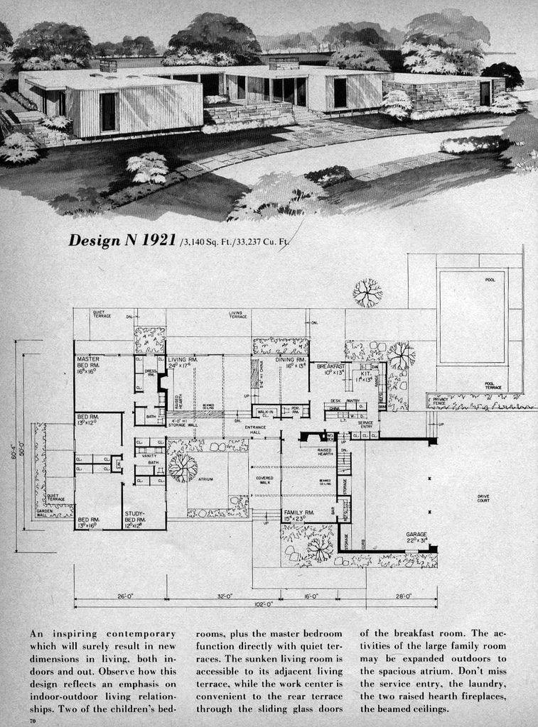 Home Planners Design N1921 Mid Century Modern House Plans Mid Century Modern House Modern Floor Plans