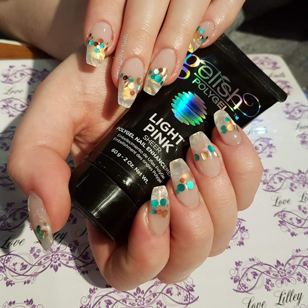 Gelish Polygel Nail Art Opal Effect Nails With Glitter Bubble Dots Notpolish