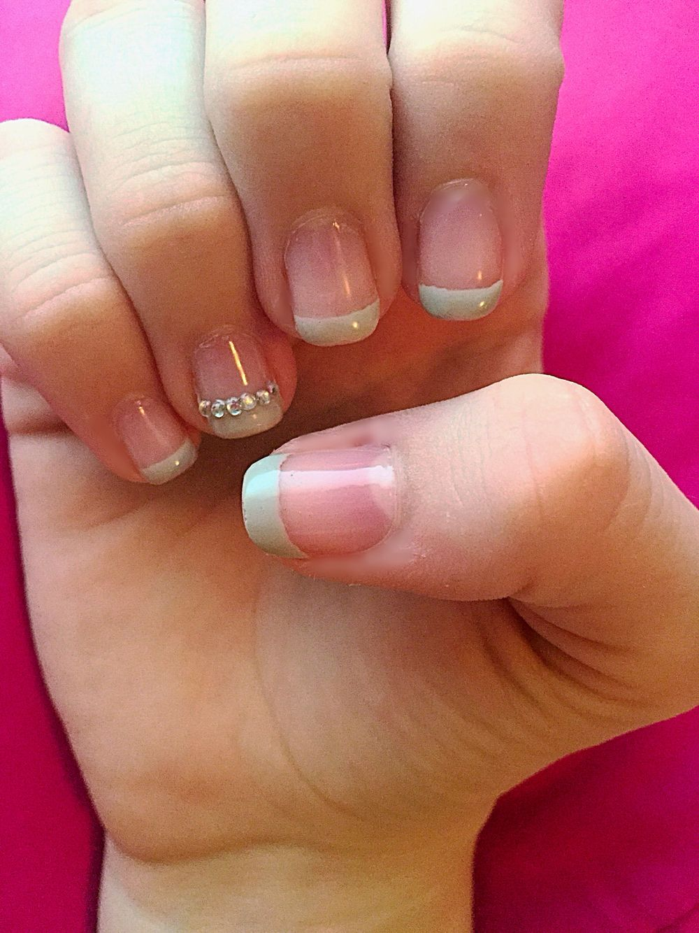 Diamond and gray French tip nail design. | Cute Nails | Pinterest