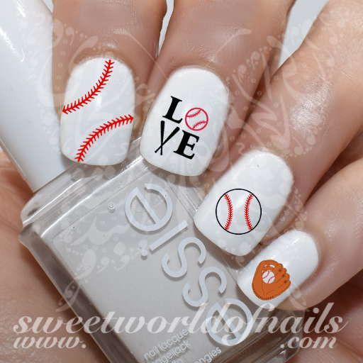 Baseball Nail Art Baseball Glove Stitches Love Baseball Nail Water
