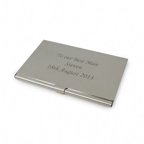Personalised silver card holder ideas for wedding souviners our silver personalised business card holder is a stylish and sophisticated gift for the modern businessman or woman colourmoves