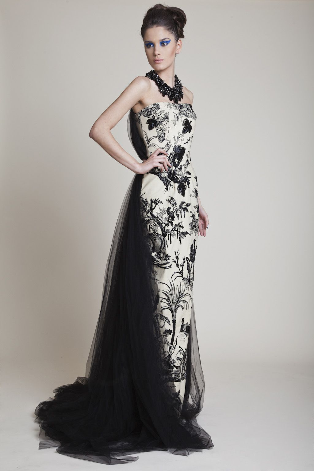 Azzi & Osta Long Hand Beaded Strapless Printed Dress with Black Tulle Back and Tail