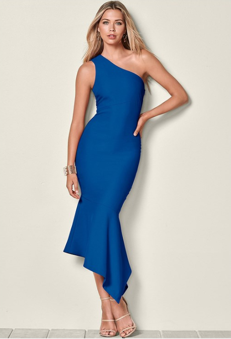 89ebd49bb01 Keep it sleek with a structured one shoulder dress and a twirl-ready tulip  hem.