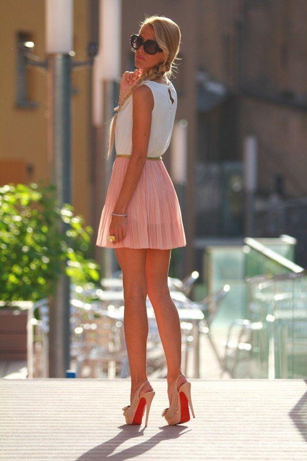 Short Peachy Pleated Skirt fashion skirt high heels summer fashion ...