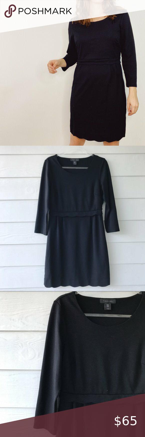 Tahari Black Scallop Waist Dress 3 4 Sleeve Tahari Black Scallop Waist Dress 3 4 Sleeve Size 10 Bust Across Flat 18 Waist Dress Clothes Design Sleeves [ 1740 x 580 Pixel ]