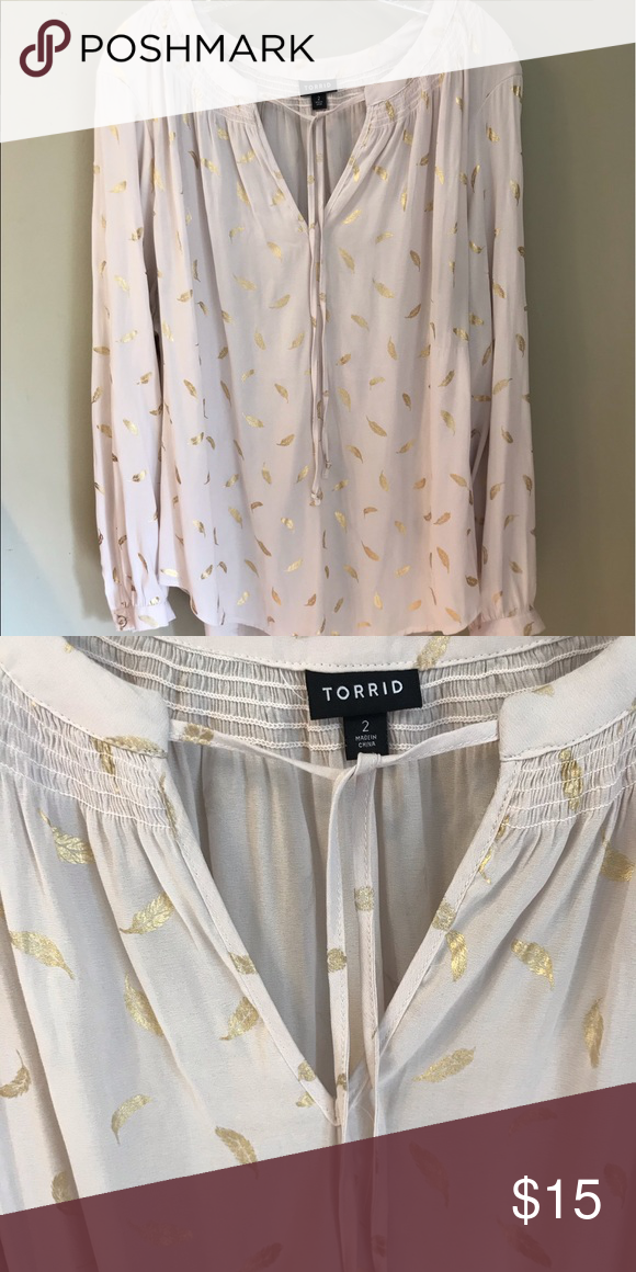 Torrid size 2 long sleeve blouse - NWOT Champagne color long sleeve blouse with shimmery gold leaves. Tie string in front. 100% polyester.   Never been worn!  Partially sheer so could be worn with tank underneath. Would look great with skinny jeans and ankle boots! torrid Tops Blouses #skinnyjeansandankleboots