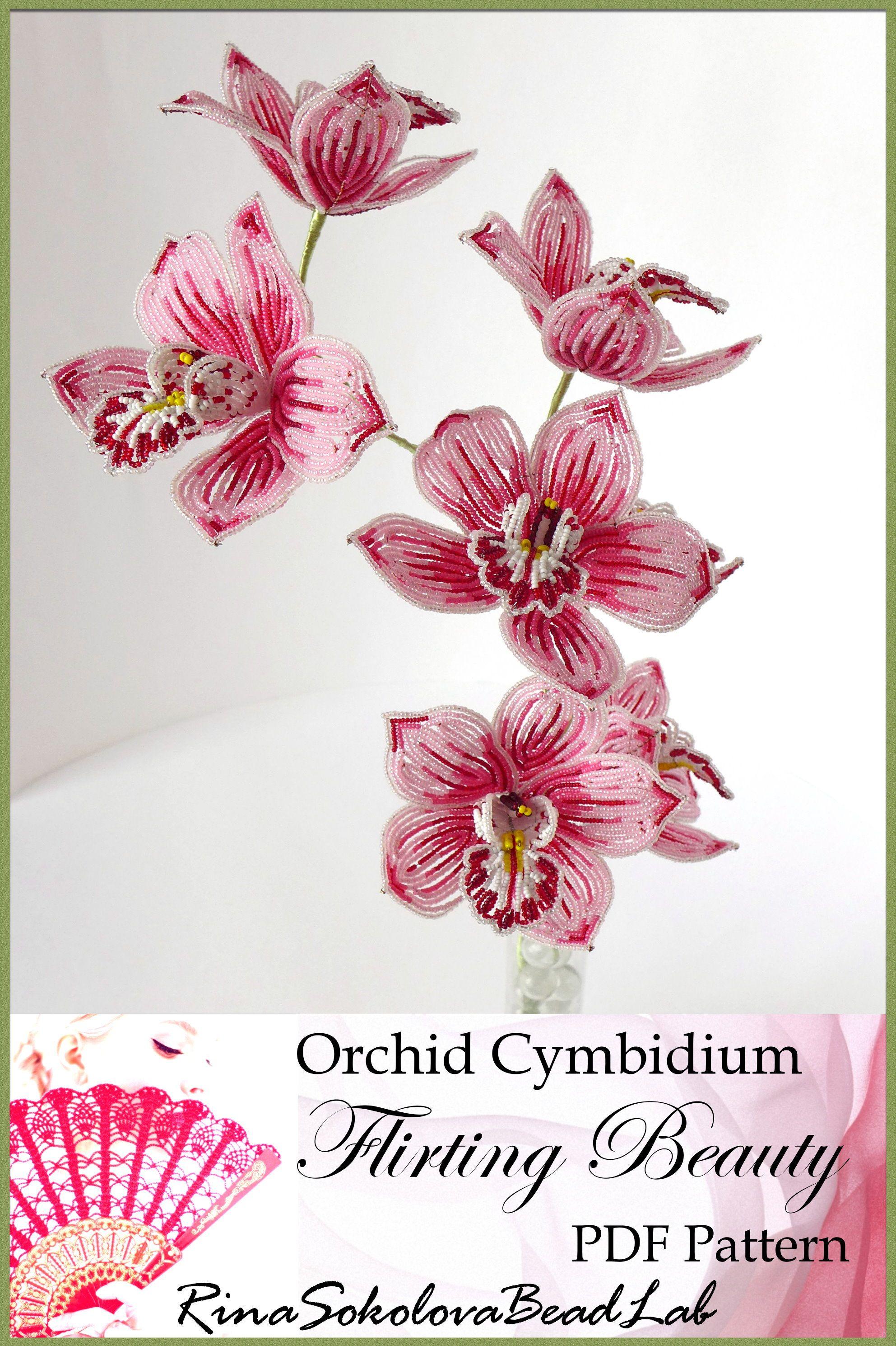 Pdf pattern french beaded cymbidium orchid seed bead flowers