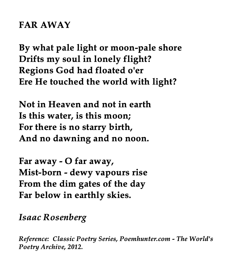 Isaac Rosenberg British Poet And Painter Far Away Quote Poems Moon Wind By Ted Hughe Paraphrase
