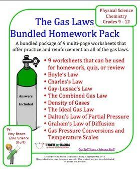Gas Laws: Bundle of 9 Homework Worksheets | Gas Laws | Pinterest ...