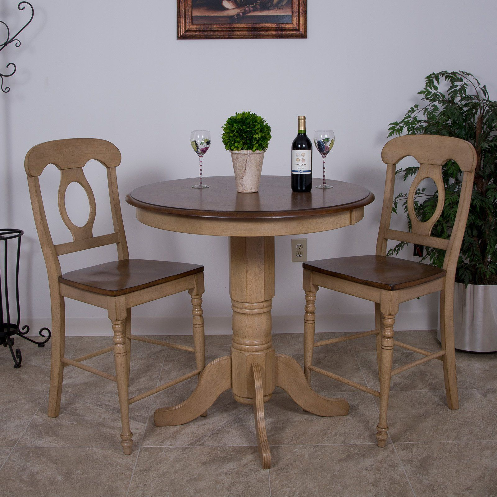 Sunset Trading 3Piece Brook 36 Inround Pub Dining Table Set Mesmerizing 36 Dining Room Table Design Ideas