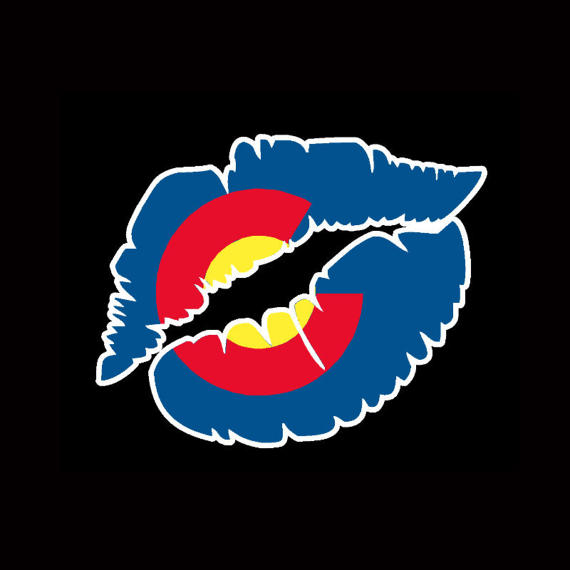 Colorado state flag kissing lips love cute vinyl sticker decal