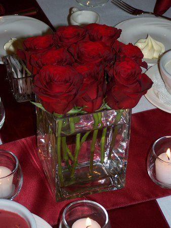 Flowers, Reception, Red, Centerpiece, Decor, Roses   Wedding ...