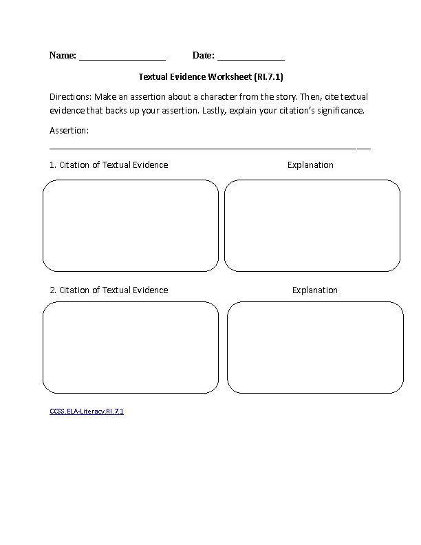 7th Grade Common Core | Reading Informational Text Worksheets ...