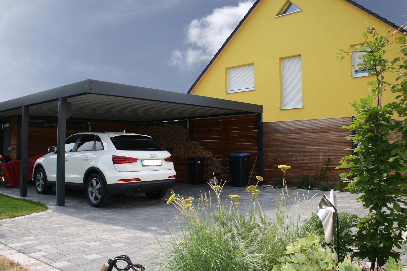 Design metall carport aus holz stahl glas mit geräteraum