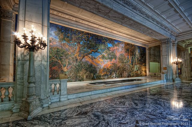 """""""The Dream Garden"""" - a giant mosaic collaboration of Louis Tiffany and Maxfield Parrish, in the Curtis Publishing Building in Philadephia."""