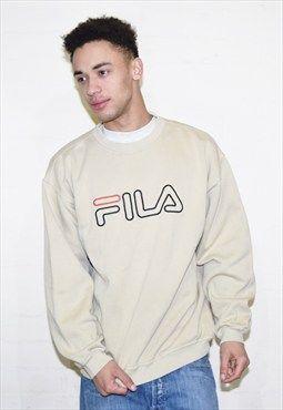 Vintage Beige Fila 90s Sweatshirt Jumper | clothes | Mens vintage ...