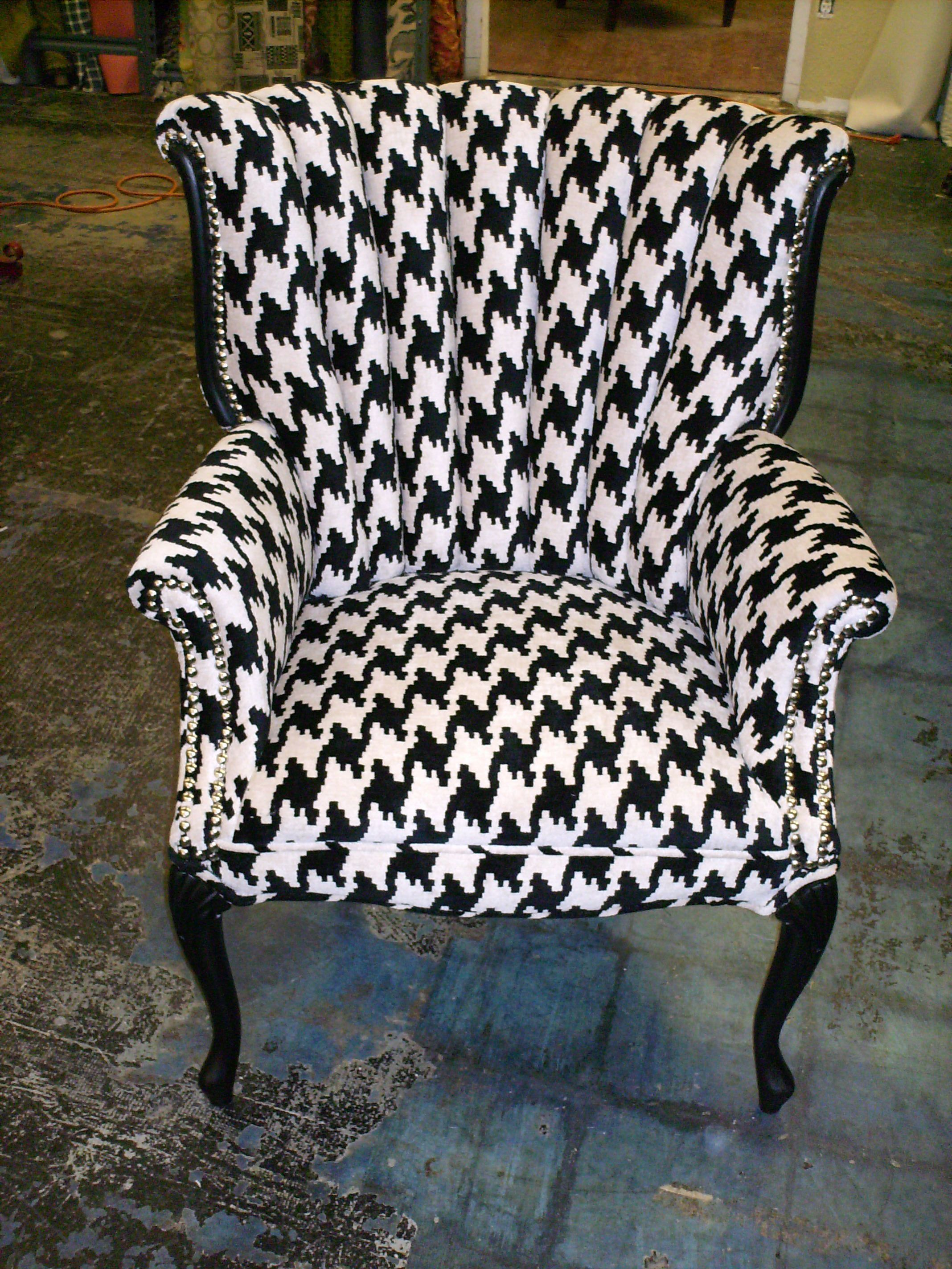 A channel back chair we reupholstered Gorgeous