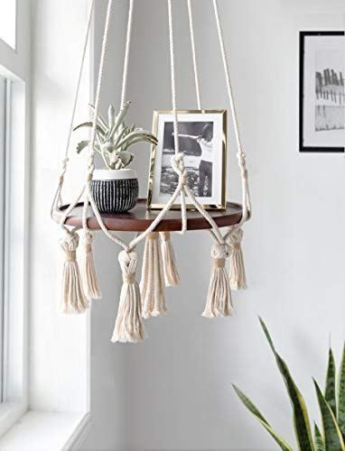 Mkono Hanging Shelf Macrame Plant Hanger Flower Pot Holder Boho Home Decor (with Wood Plate) #flowerpot