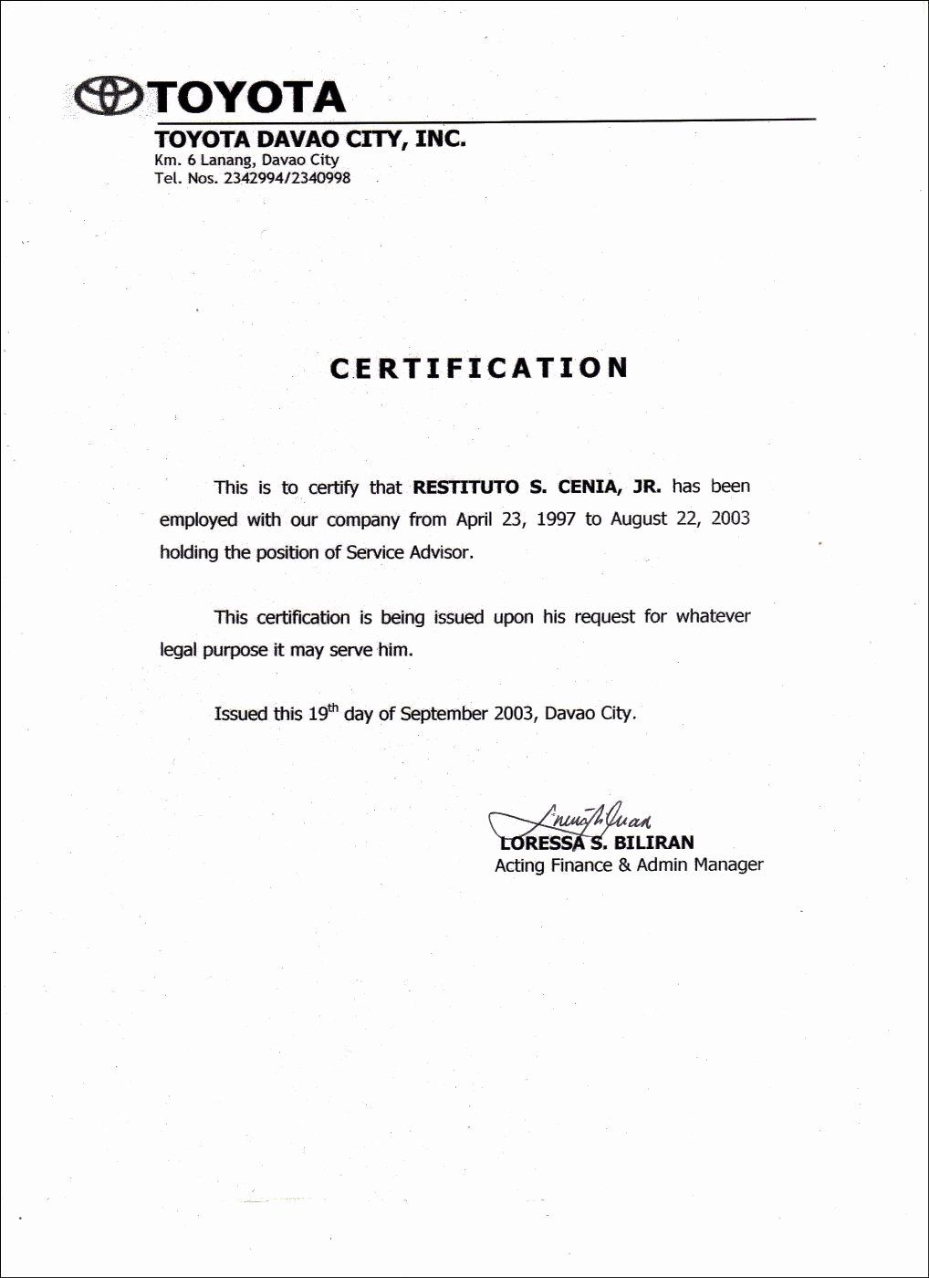Certificate Of Employment Template Luxury Employment Certificate Sample Certificate Of Completion Template Employment Letter Sample Award Template