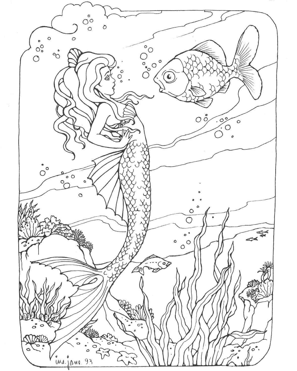 Wonderful Mermaid Coloring Page Free  Bjl