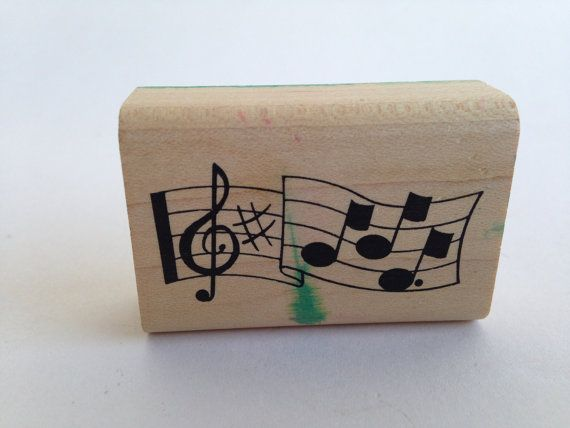 Music Notes  Staff  Musical Vintage Rubber Stamp by SirStampington