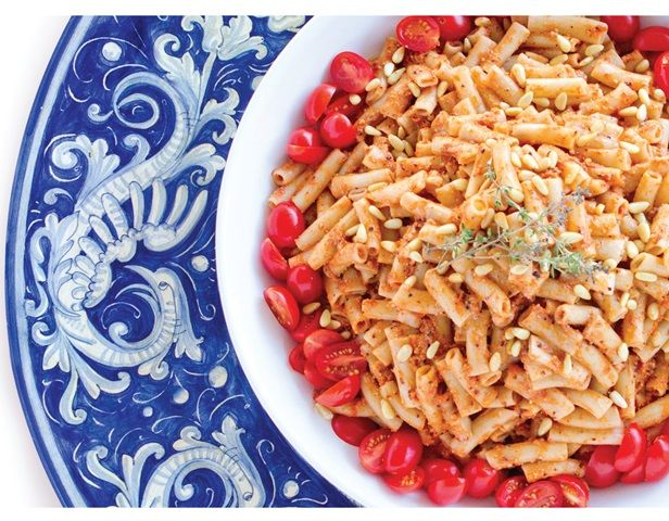 Penne with Roasted Tomato Cacao Sauce