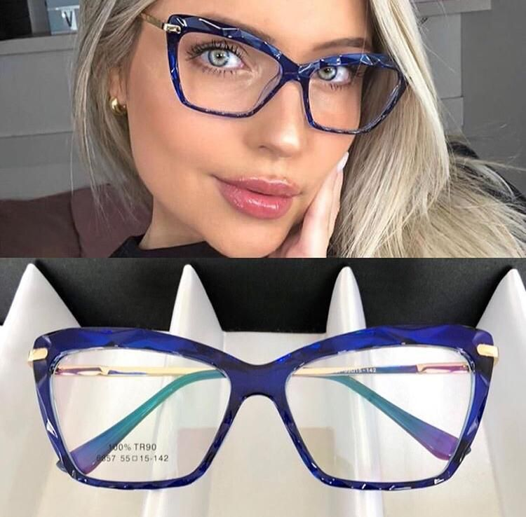 Oculos Armacao De Grau Azul Feminino Cristal Exclusivo Em 2020