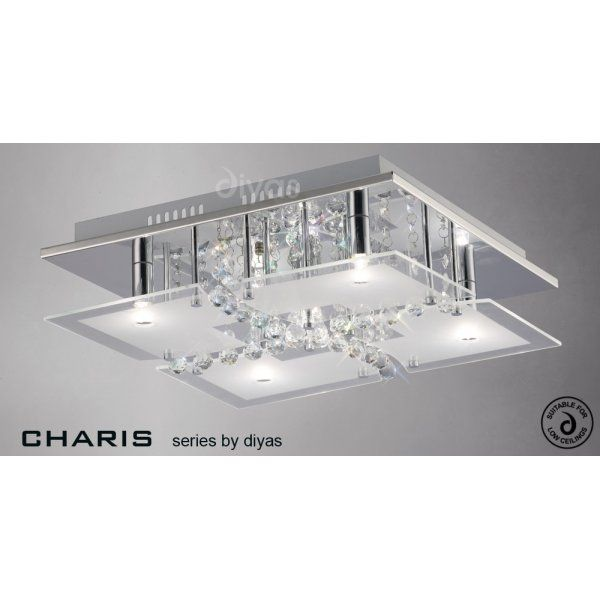 Diyas chisora medium 5 light flush ceiling fitting in polished chrome diyas from castlegate lights