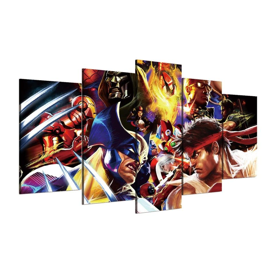 Street Fighters Characters Banner Gaming Canvas Wall Art Art
