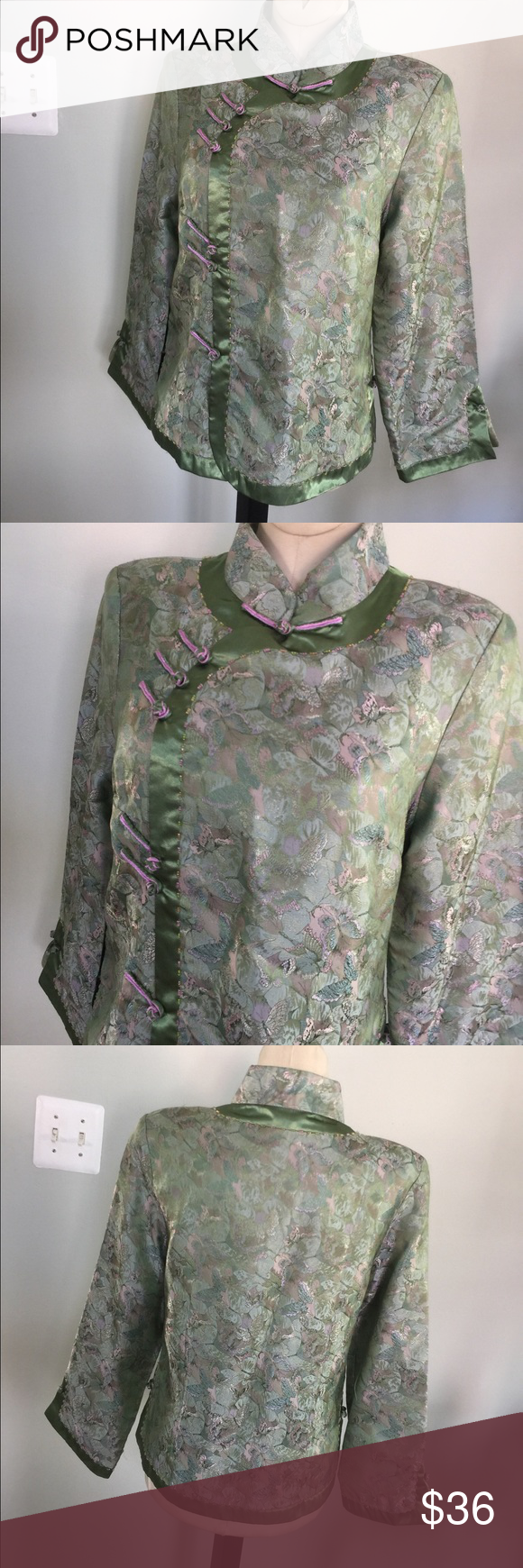 """Silk oriental Jacket/Top Top/Jacket tag reads a Sz L(but fits like a size M)I'm a Sz 4/6 and can wear this and also have some room.Measures bust 38"""" ,26"""" length.Very nice condition. Tops"""