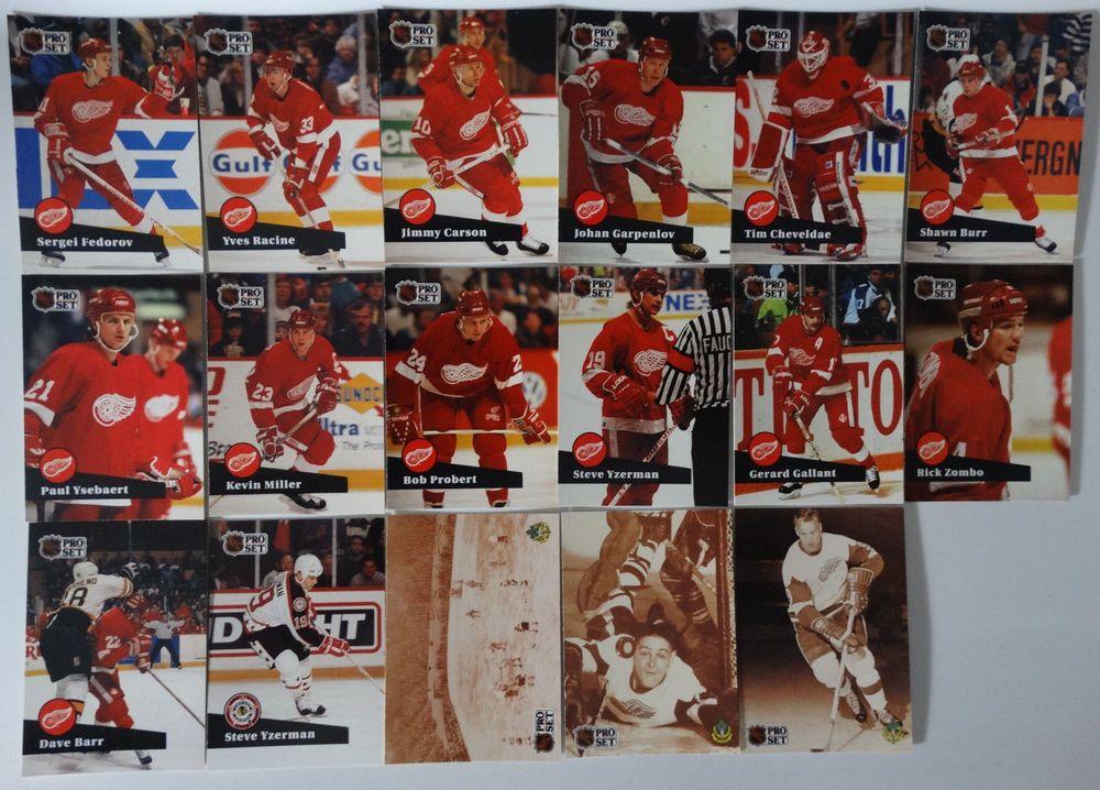 199192 pro set series 1 detroit red wings team set of 17