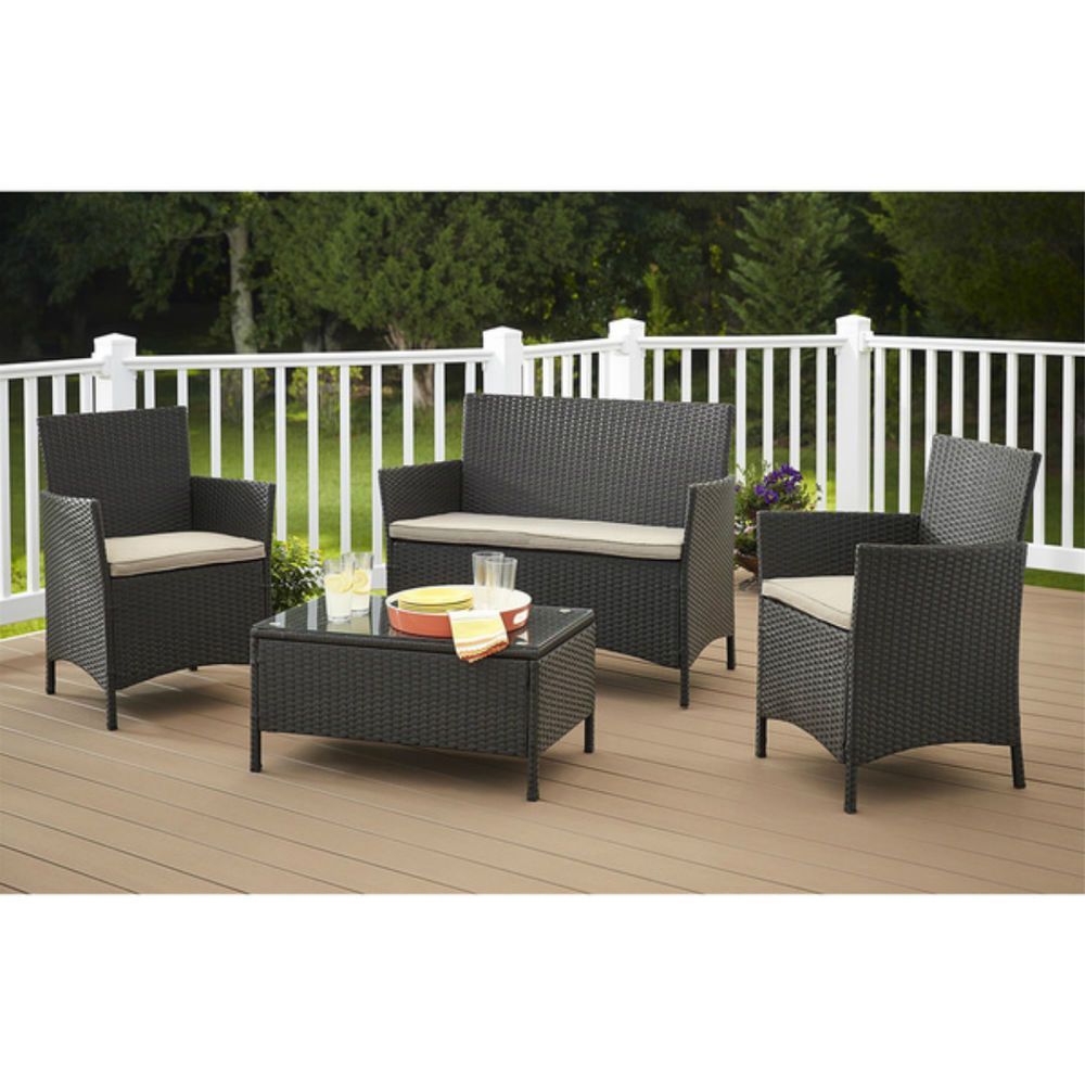 Cosco Products 88510 Blke Outdoor Jamaica 4 Pc Resin Wicker Convo Set