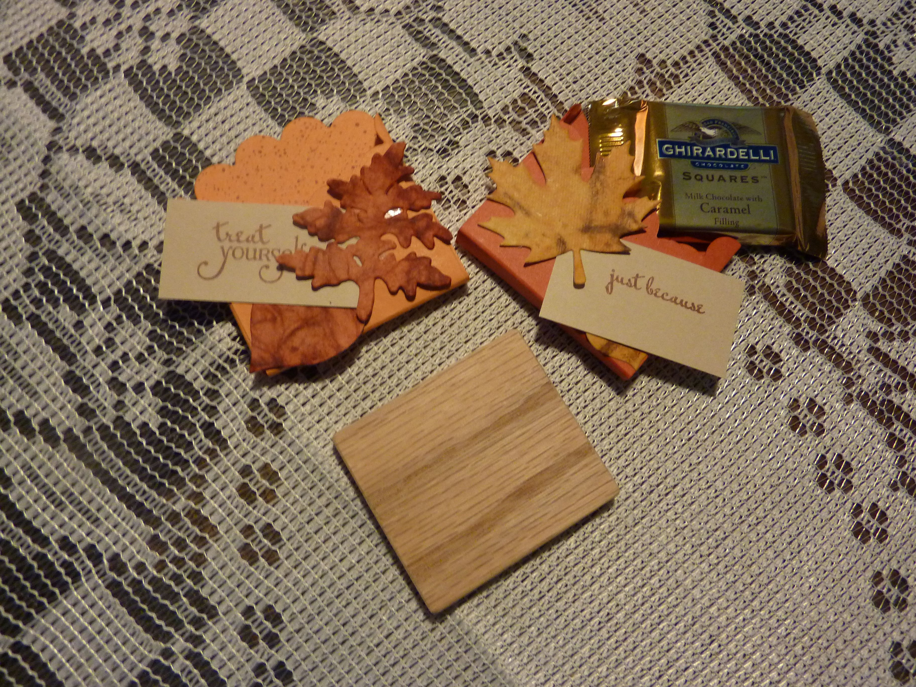 These candy treats holders are just part of the 32 created and stuffed for our Oct '15 pot luck. A special thanks to M.D. for all her folding help.The wood block (Jim's idea)  was a great guide for folding & support for decorating.