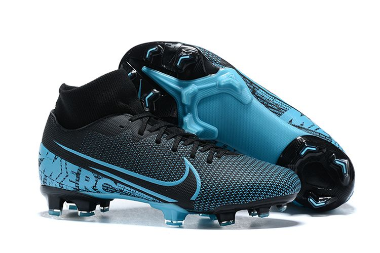The Nike Mercurial Superfly Vii Club Fg Black Blue Comfortable Lining Wraps Your Feet And Provides A Snug Fit To Your Skin A Textured In 2020 Superfly Blue Black Nike