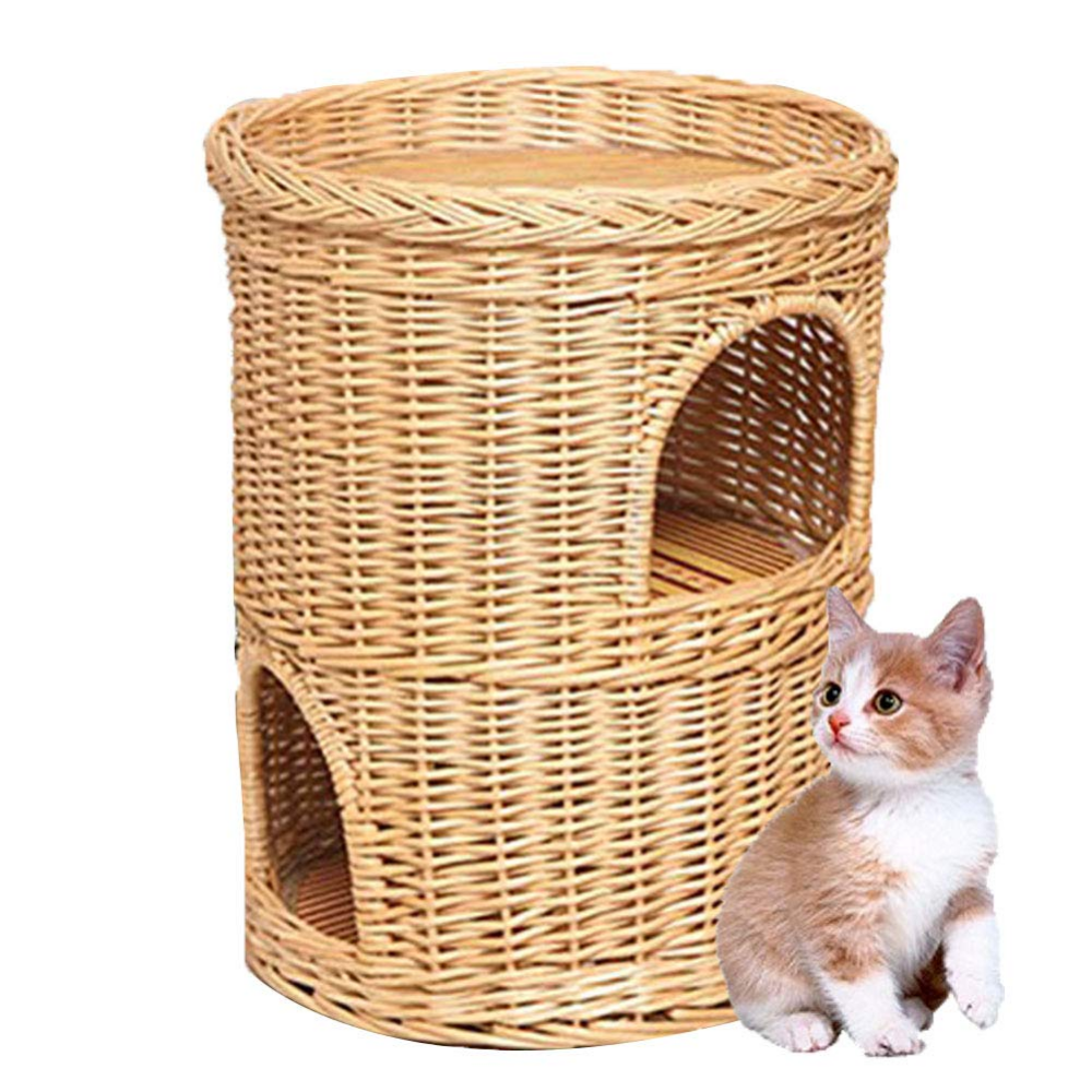Amazon Com Dyytrm Wicker Cat Tower Two Tier Bed Basket House Natural Bamboo Rattan Closed Cat House Four Seasons Universal Cat Litt Wicker Cat Room Cat House