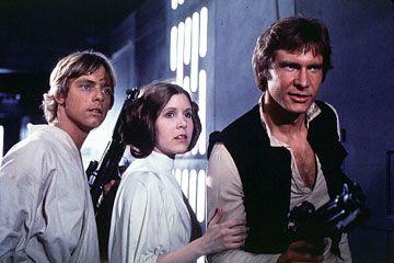 Left To Right Mark Hamill Luke Skywalker Carrie Fisher Princess Leia And Harrison Ford Han Solo In Star Wars Episode Iv A New Star Wars Folk 60 Erne