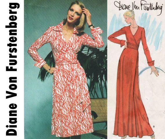 Diane Von Furstenberg, Classic Wrap Dress, Vogue 1549 sz 14 bst 36 ...