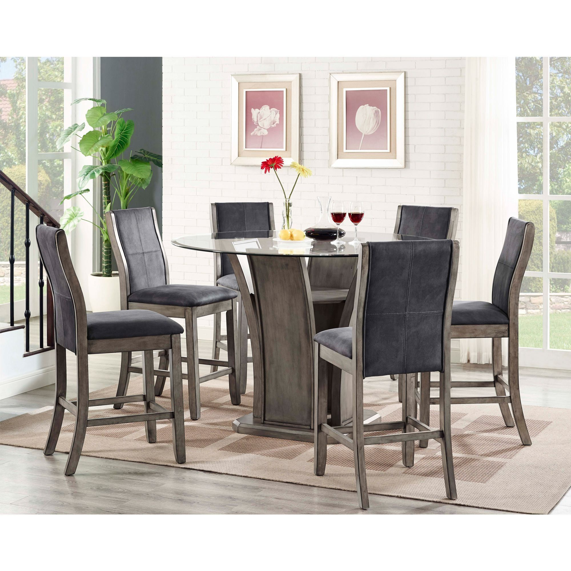 Picket House Furnishings Dylan 7 Piece Round Counter Height Dining