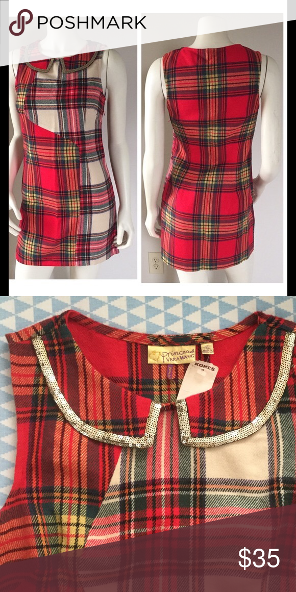 NWT princess vera wang red dress NWT. I bought it from Kohls. It has a cute collar with square sequins. The first pic is not mines I found a model picture online. I do trade but my trade price will be a little higher than my sales price. Vera Wang Dresses Midi