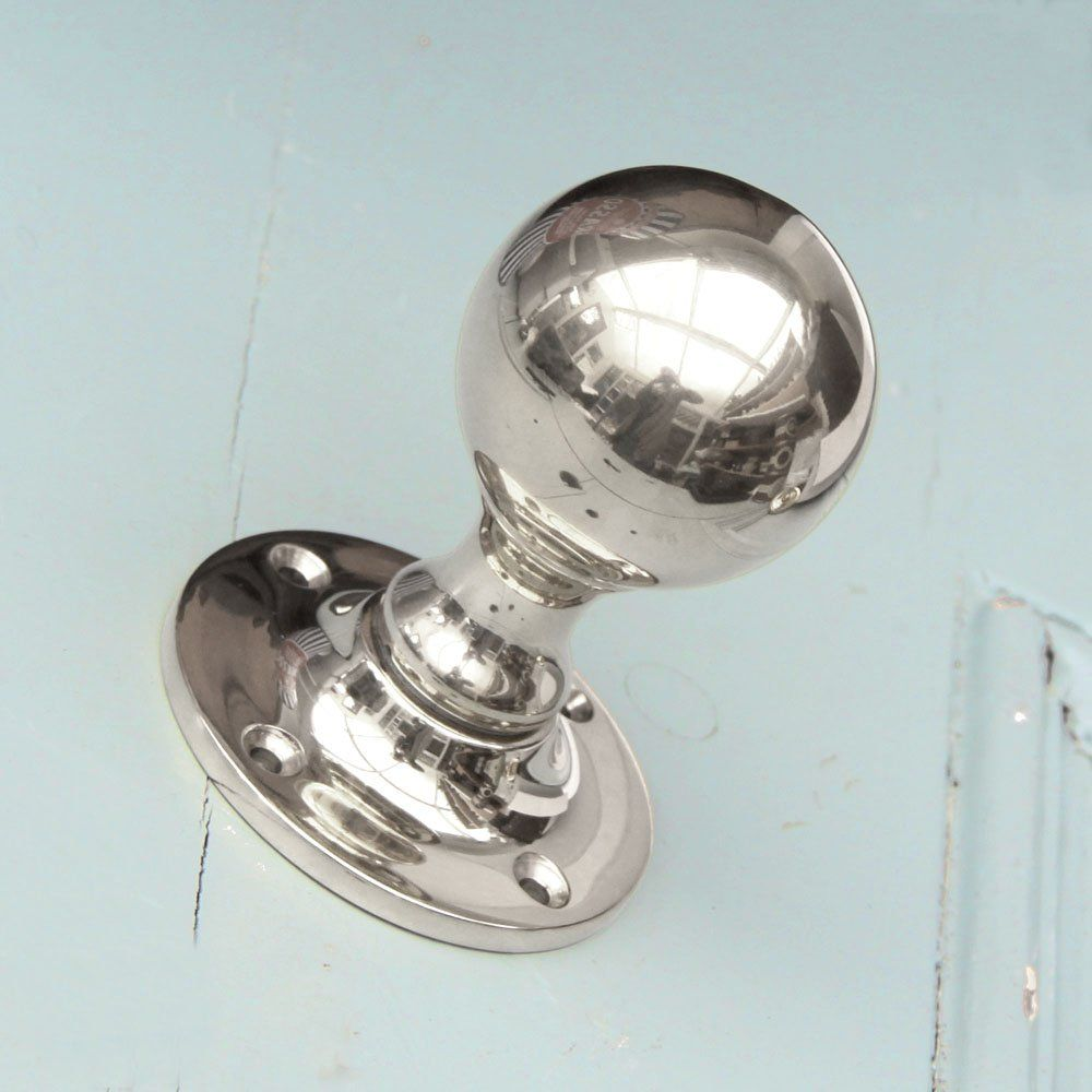 Awesome Round Polished Nickel Door Knobs   Pair