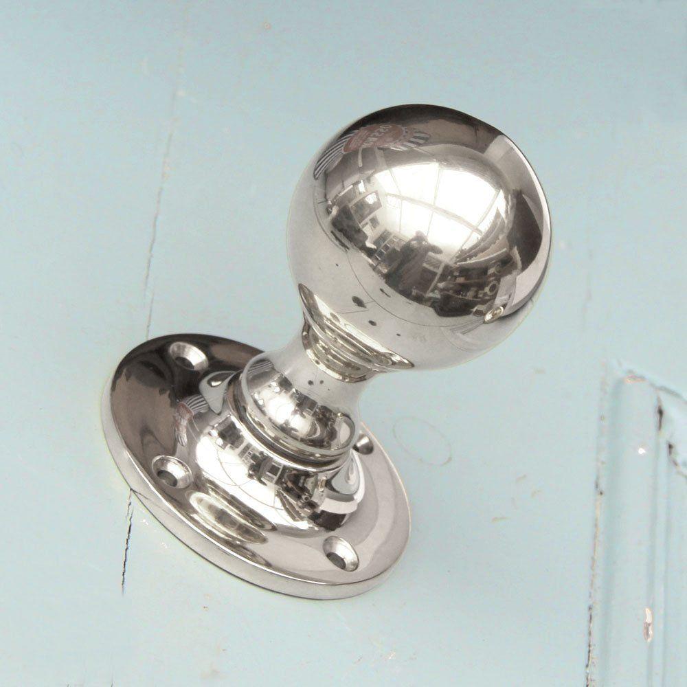 Round Polished Nickel Door Knobs   Pair