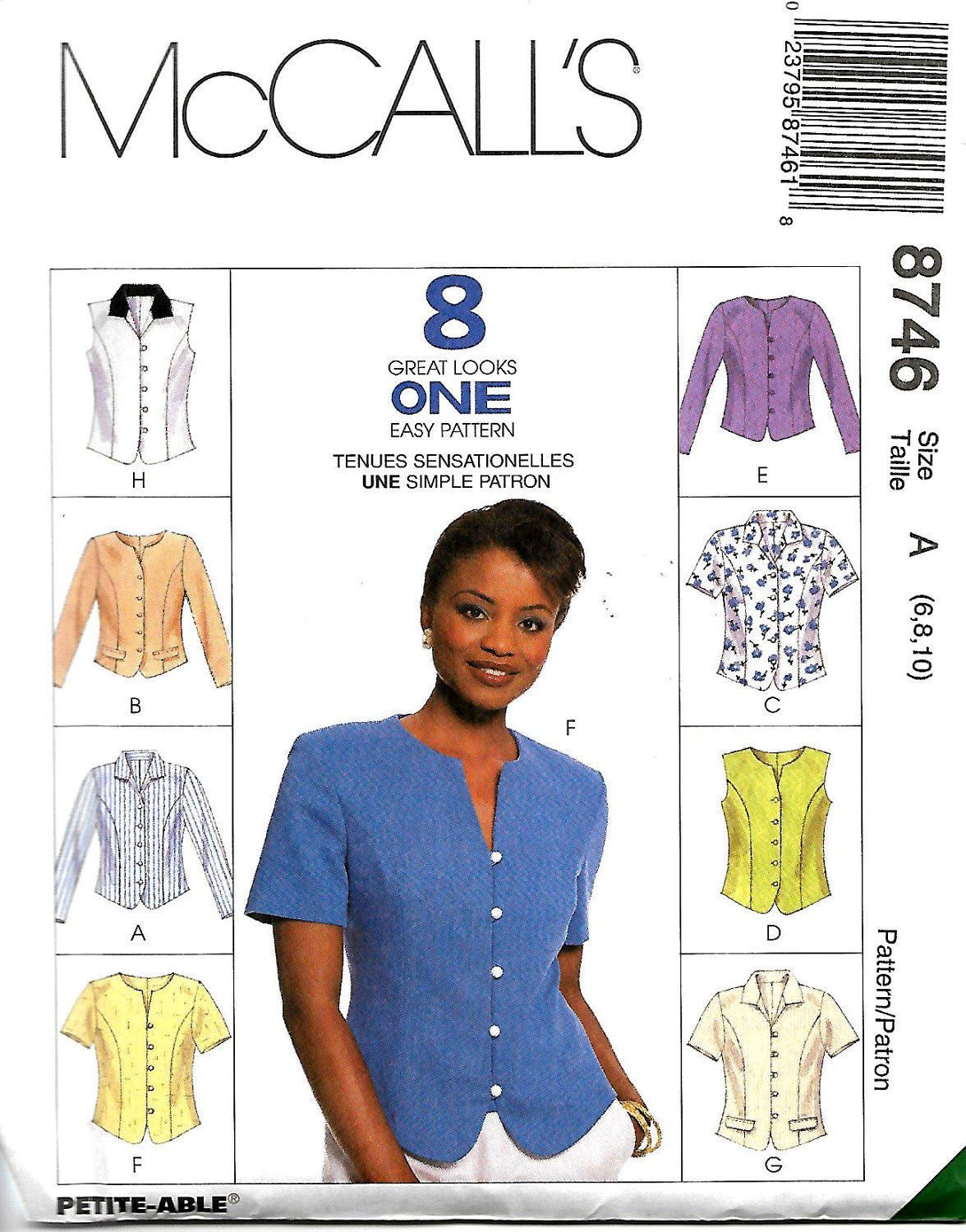 Mccalls 8746 misses tops sewing pattern 8 great looks size 6 10 mccalls 8746 misses tops sewing pattern 8 great looks size 6 10 jeuxipadfo Image collections