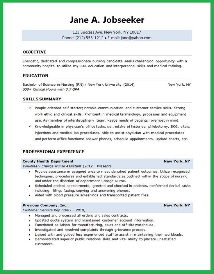 Nursing Student Resume Nursing Pinterest Student resume