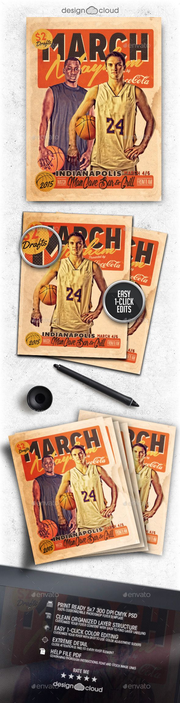Attractive March Mayhem Retro Basketball Flyer Template