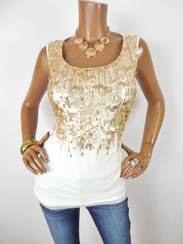 35078518921736 CHICO S Sz 2 Womens Top M L NWT Ivory Tank Shirt Gold Sequin Mesh Sleeveless   Chicos  Blouse  Casual